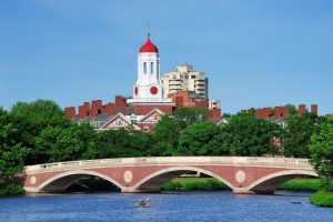 Bridge and clock tower over Charles River at Harvard