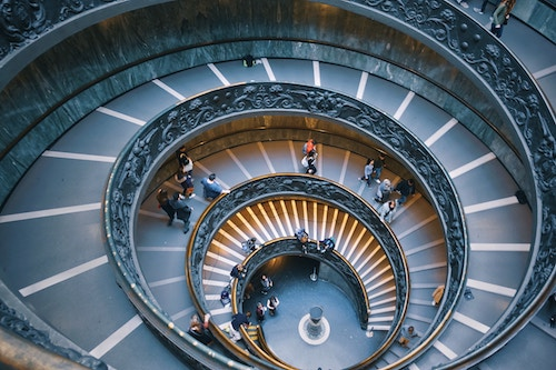 Busy spiral staircase